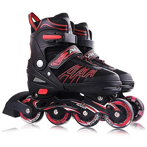 Inline Skates Für Kinder Und Erwachsene, Vierstufig Verstellbare Schuhgröße, Dreifacher Sicherheitsschutz, PU-Gummiräder, ABEC-7-Lager für Erwachsene Anfänger mädchen Jungen-rot L