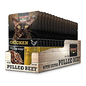 Leonardo Frischebeutel [16x70g Chicken mit Fleischstreifen] Pulled Beef | Getreidefreies Nassfutter für Katzen… 1