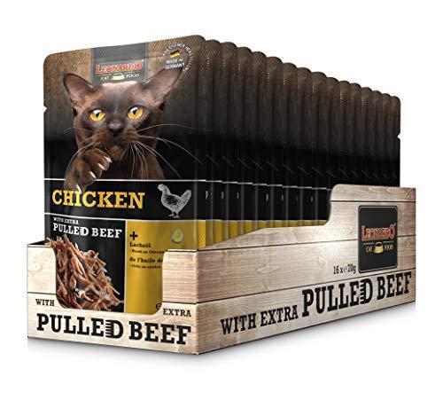 Leonardo Frischebeutel Chicken mit Fleischstreifen [Pulled Beef] 70g | Getreidefreies Nassfutter für Katzen | Alleinfuttermittel Katzenfutter