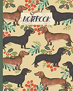Notebook: Cute Black & Tan Dachshunds Drawing & Floral - Lined Notebook, Diary, Track, Log & Journal - Gift Idea for Boys Girls Teens Men Women (8