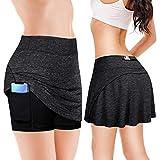 PLULON Athlétique Tennis Le Golf Jupe-Short Jupes pour Femme avec 2 Poches (Gray, L)