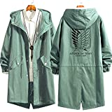 Attack Light Green en Titan Wings of Freedom Print Hoodie, Cosplay Anime AUS AUSE AUT AUTRIBLE CHAQUETE DE CORREAMIENTO, (S-2XL) Attack on Titan-S