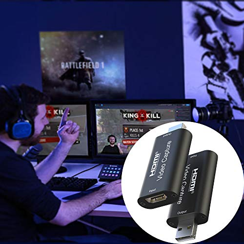 Audio Video Capture Cards - HDMI to USB 2.0 Capture Card - VKUSRA High Definition 4K 30fps - Record Directly to Computer for Gaming, Streaming, Teaching, Video Conference or Live Broadcasting