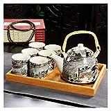 fleeting time GaoHR Conjunto de té de cerámica Conjunto de té Bandeja de té al Aire Libre Camping montañismo té Conjunto de té Chino Ceremonia de té HR (Color : As Shown 8 pcs)