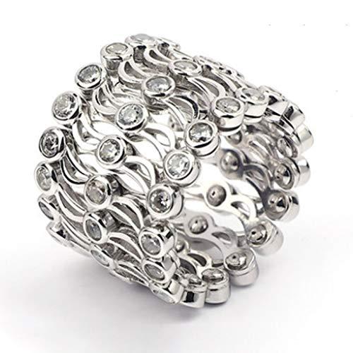 Juego de joyas para el día de San Valentín, anillo de plata deformable, anillo retráctil para mujer, ahuecado hacia fuera, un doble propósito, prepara una sorpresa para tu esposa (negro)