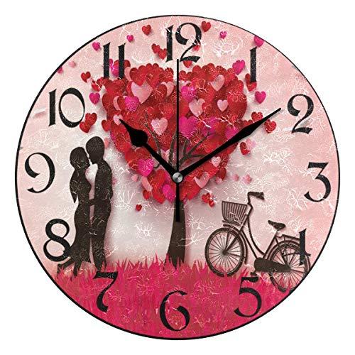 Jacque Dusk Reloj de Pared Moderno,Feliz Dia de San Valentin Corazon Rojo,Grandes Decorativos Silencioso Reloj de Cuarzo de Redondo No-Ticking para Sala de Estar,25cm diámetro