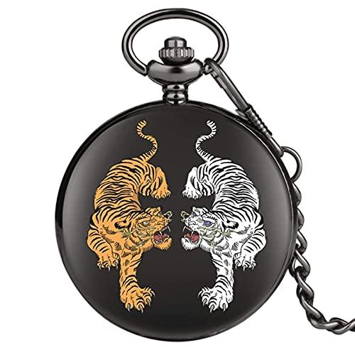 DIHAO Reloj de Bolsillo de Tigre Doble Blanco Amarillo Números Romanos Relojes de Bolsillo de Cuarzo Negro Reloj de Hombre Regalos