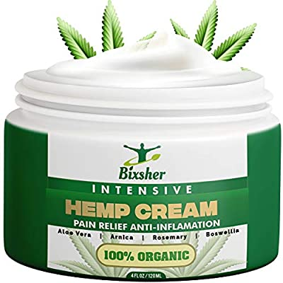 Hemp Cream Back Pain Relief | Muscle & Joints Relief Cream | Natural High Strength Formulation Hemp Extract | MSM, Arnica & Menthol | Soothe Feet, Knees, Back, Shoulders by Bixsher
