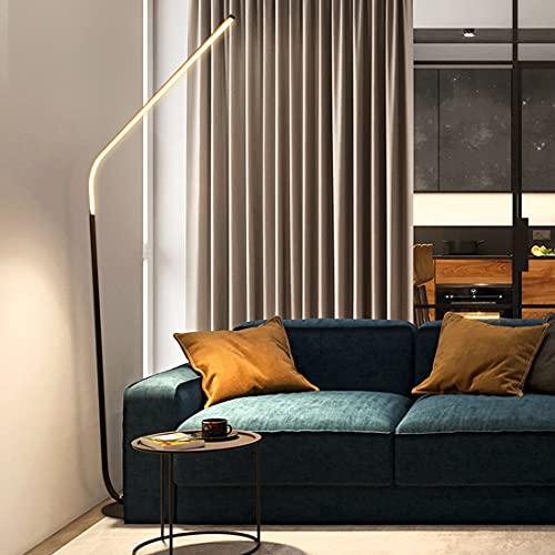 FREETT Regulable Lámpara de Pie, Moderno LED Lámpara de Suelo con Mando a Distancia, 33W/2970LM, Negro Mate Minimalista Metal Interior Luz de Piso para Dormitorio Estudio