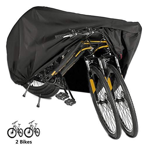 BICASLOVE Fahrradabdeckung Wasserdicht, Fahrradschutzhülle Fahrradträger für 2 Fahrräder Wasserfest Atmungsaktiv Regenschutz Schutzbezug 200x70x110CM - Schwarz