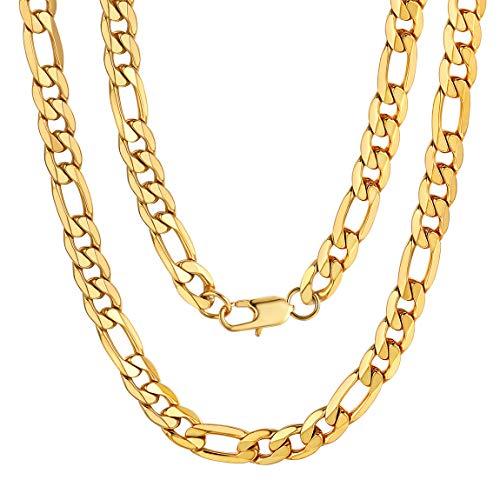 ChainsPro Figarokette Männer Edelstahl 18K Vergoldet 9mm Breit Herren Halskette Stahl Männer Halsketten Herren Diamantschliff Figaro 61CM Lang Kette