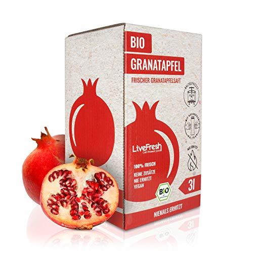 LiveFresh BIO Granatapfel Saftbox [3 Liter]- 100% leckerer Granatapfelsaft - Schonend Kaltgepresst - Ohne Zuckerzusatz & Zusatzstoffe - Hergestellt in Deutschland