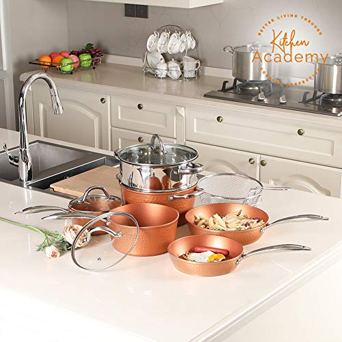 Kitchen Academy Hammered Copper Cookware Sets- Copper Kitchen Pots and Pans Set