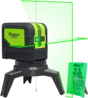 Cross Line Laser Level with 2 Plumb Dots - Huepar M-9211G Green Beam Self Leveling 180-Degree Vertical Line and Horizontal...
