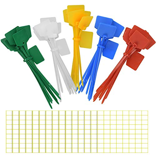 GOLRISEN 50 Stück Nylon Kabelbinder Farbig Set 120 mm Kabelmarkierer Kabelbinder Etiketten mit 1080 Selbstklebende Kabeletiketten Kabelhalter für Büro Hause Stromkabel PC Kabelmanagement