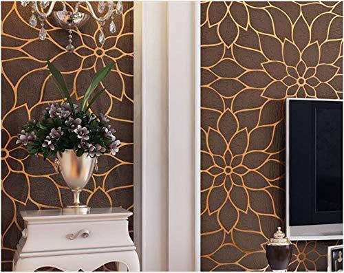 3D-Tapete Vlies-Tapete Beflockung der modernen Kurve Hellbraun Eleganz-Tapete einfache Tapete für das Wohnzimmer im Wohnzimmer, den Innen- und den TV-Hintergrund 9.5x0.53m