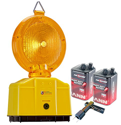 UvV - Baustellenleuchte, LED gelb, Warnleuchte - mit Secura-Halter, inkl. 2 x 6 Volt Ansmann Batterien (9 ah) und 1 x Lampenschlüssel (gelb)