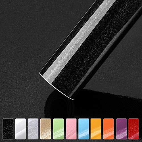 iKINLO Selbstklebende Klebefolie, 0.61 * 5M Schwarz Tapeten Möbelfolie Mit Glitzer PVC Vinyl Dekorfolie wasserdicht Küchenschrank Folie für Wände Wand Türen Möbel Deko
