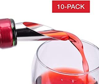 10 Sets Wine Pourer and Stopper, Liquor and Wine Bottle Stoppers- Drip Free Pouring - Stopper Wine Seal - Keeps Wine Fresh - Gift for Wine Enthusiasts, Great Value for Home and Party Occassions