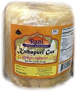 Rani Kolhapuri Gur (Jaggery) 5kg (11lbs) ~ Unrefined Cane Sugar, No Color added, Gluten Free Ingredients | Vegan | NON-GMO | No Salt or fillers