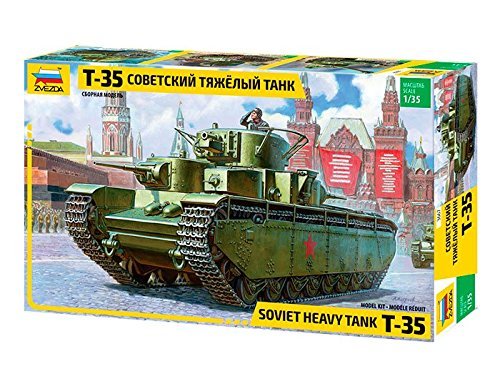 ZVEZDA 500783667 - 1:35 T-35 Heavy Soviet Tank, Modellbau, Bausatz, Standmodellbau, Modellbau, Bausatz, Standmodellbau, Hobby, Basteln, Plastikbausatz,Unlackiert