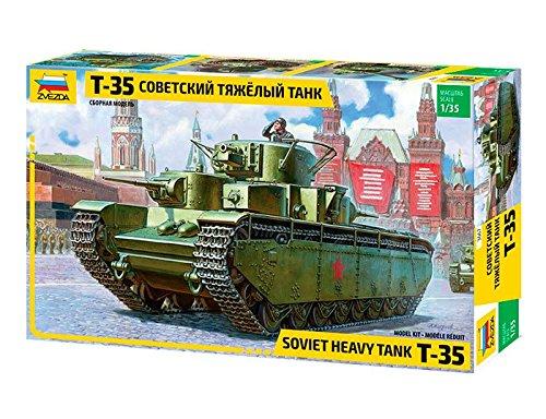 ZVEZDA 500783667 - 1:35 T-35 Heavy Soviet Tank, Modellbau, Bausatz, Standmodellbau, Modellbau, Bausatz, Standmodellbau, Hobby, Basteln, Plastikbausatz