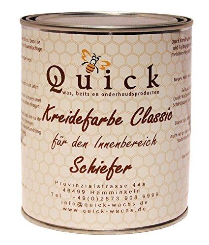 Quick Kreidefarbe Classic für Shabby Chic und Landhaus Stil Antiklook Möbelfarbe Farbe (Schiefer, 1 Liter)