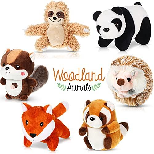 6 Juguetes de Peluche de Animal de Selva Set de Animal de Peluche de Bosque Animal de Panda, Mapache Pequeño, Perezoso, Ardilla de Cola Grande, Zorro, Erizo para Favor de Fiesta de Safari