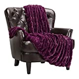 Chanasya Ruched Luxurious Soft Faux Fur Throw Blanket - Fuzzy Plush and Elegant with Reversible Mink Blanket for Sofa Chair Couch Living Room Birthday Gift and Home Decor (50x65 Inches) Aubergine