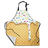 MSGUIDE Ice Cream Cute Chef Aprons for Women and Men Water Resistant with Adjustable Neck Extra Long Ties for Kitchen Cooking Bib Grilling BBQ Baking Drawing Crafting Waiter