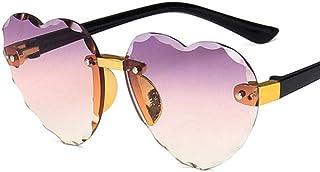 Mingi - Mingi Child Cute Heart Gafas de Sol con Montura sin Montura Niños Niños Gris Rosa Lente roja Niños Niñas Gafas de protección, C5 Púrpura