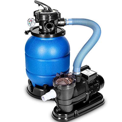 tillvex Pompa Filtro Piscina Portata 10 m³/h - 5 funzioni di filtrazione - Filtro per Piscina con indicatore di Pressione - Impianto di filtrazione a Sabbia per Piscine e vasche (Blu)