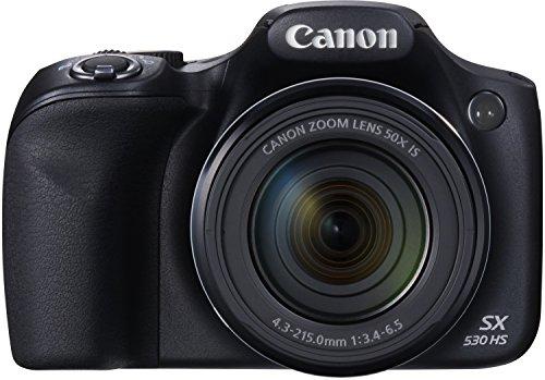 Canon PowerShot SX530 HS Digitalkamera (16,0 MPCMOS, HS-System, 50-fach optisch, Zoom, 100-fach ZoomPlus, opt. Bildstabilisator, 7,5cm (3 Zoll) Display, Full HD Movie, WLAN, NFC) schwarz