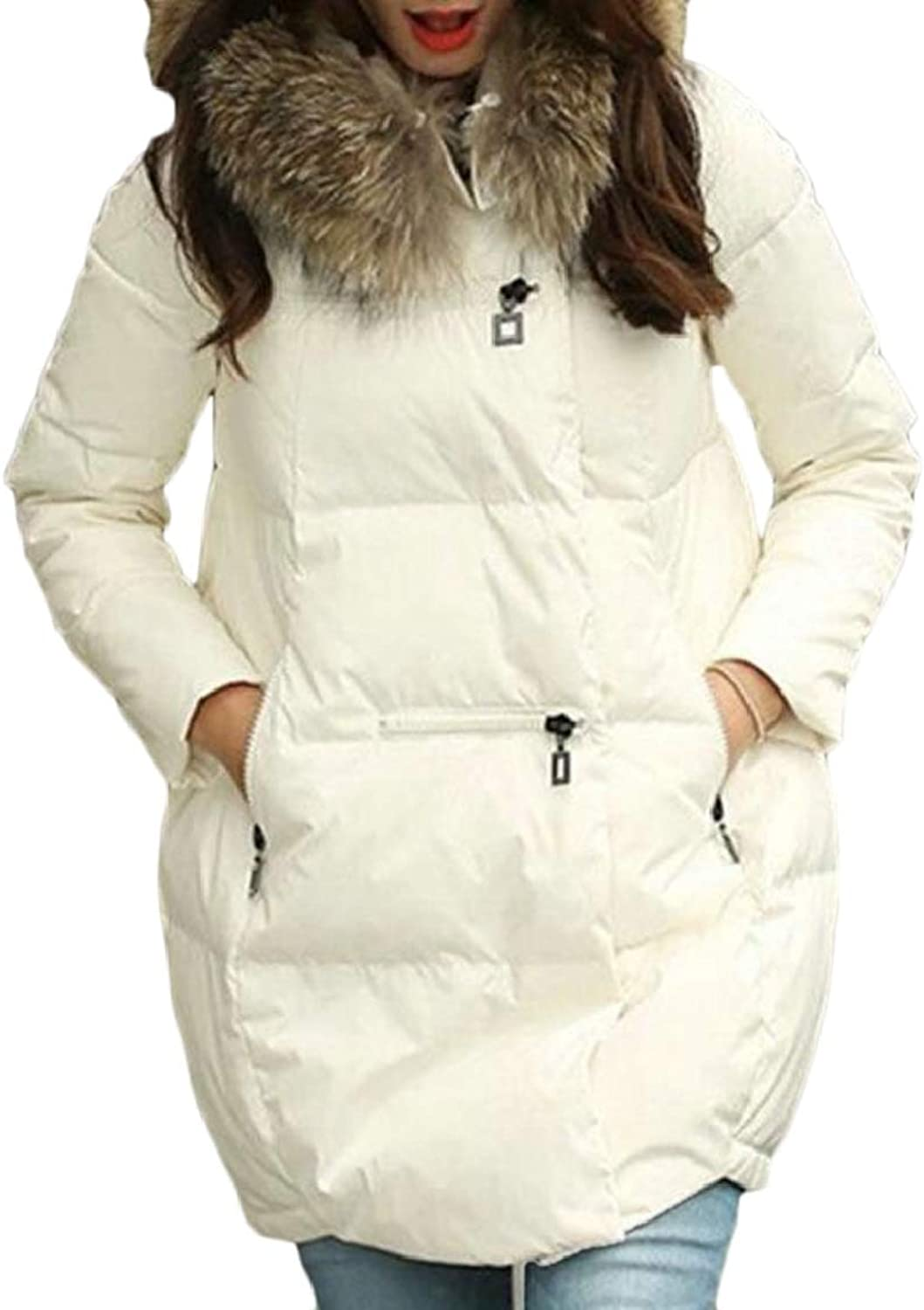 QDCACA Women's Thick Pure color Fur Collar Mid Long Hoodie Down Jacket Coat