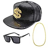 CHUANGLI Hip Hop Costume Kit 80s/90s Cool Rapper Outfits Accessories Snapback Baseball Cap DJ Sunglasses Gold Plated Chain(Black)