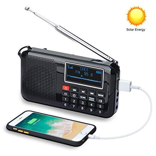 Songway - Altavoz de Radio FM portátil Recargable con energía Solar MP3, Temporizador de sueño, Linterna de Emergencia, Soporte para Tarjeta TF/USB, Conector para Auriculares
