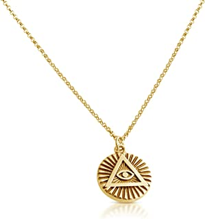 Belcho USA Illuminati All Seeing Eye of Providence Pendant Necklace 14k Gold Plating OverSterling Silver