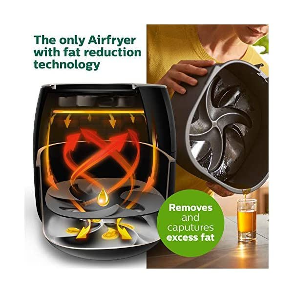 Philips Kitchen Appliances Premium Digital Airfryer with Fat Removal Technology + Recipe Cookbook, 3 qt, Black, HD9741…