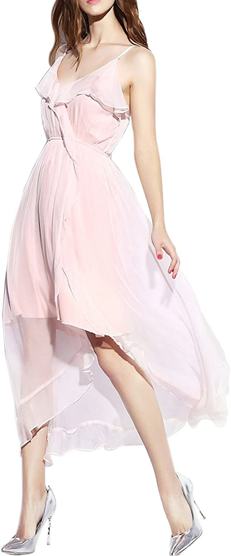 CDCLOTH Women's Lady Temperament Mulberry Silk Long Dress Sleeveless Vest Dress