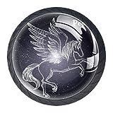 Rearing Pegasus Constellation Decorative Cabinet Wardrobe Furniture Door Round Drawer Knobs Pulls Handles Hardware(4 PCS)