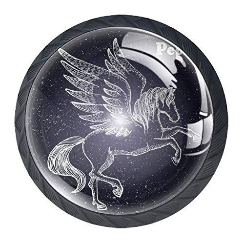 4 tiradores redondos para cajón de diseño, armario, cajones, puerta de tiro, estrella morada, Crianza de la Constelación de Pegaso, 3.5×2.8CM/1.38×1.10IN