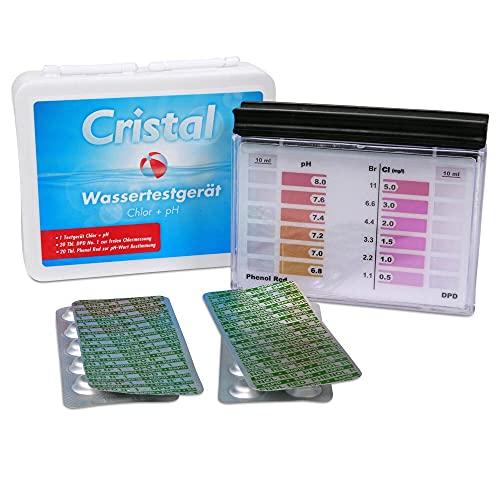 Cristal Wassertestgerät pH und Chlor im Poolwasser - Messgerät für den Pool, pH- und Chlor-Wert, einfache Anwendung, Pooltester manuell