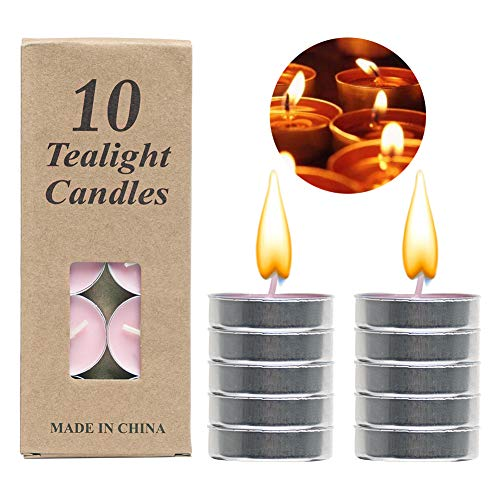 Geisofu Tealight Candles 4 Hours Burn Time Aromatherapy Candles Set,10 Packs Unscented Candles for Stress Relief Gifts for Birthday, Valentine's Day, Bedroom, Yoga (Pink)