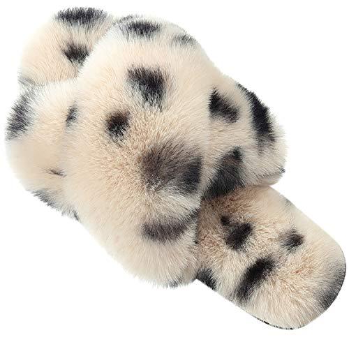 Pantuflas para mujer, banda cruzada de felpa de forro polar antideslizante, espuma de memoria deslizante, para interior y exterior, Lunares color crema., 8-9
