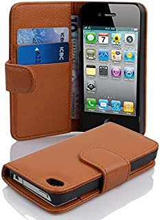 Cadorabo Case Works with Apple iPhone 4 / iPhone 4S in Saddle Brown (Design Book Structure) – with 2 Card Slots – Wallet Case Etui Cover Pouch PU Leather Flip