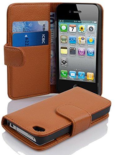 Cadorabo Custodia Libro per Apple iPhone 4 / iPhone 4S in MARRONE CIOCCOLATA - con Vani di Carte e Funzione Stand di Similpelle Strutturata - Portafoglio Cover Case Wallet Book Etui Protezione