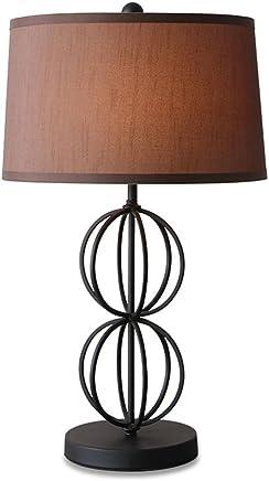 YJH+ テーブルランプクリエイティブパーソナリティアイアンマットブラックベッドサイドランプベッドルームランプモダンミニマリストリビングルームライト 美しく寛大な ( 色 : ブラウン ぶらうん )
