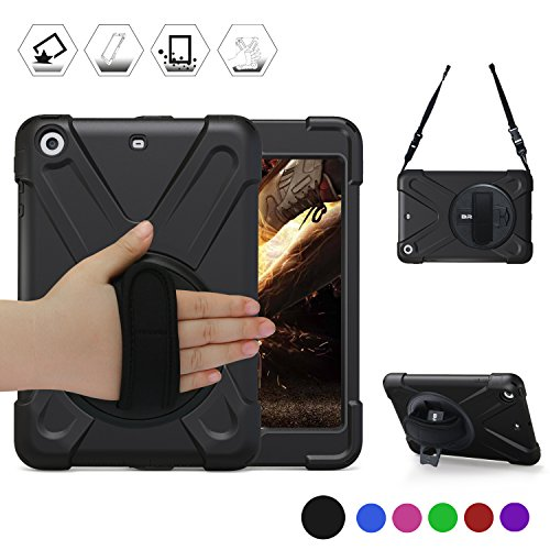 BRAECN Headrest Mount/Handheld Case for Apple iPad Mini / Mini2 / Mini 3-360 Degrees Rotatable Stand with Adjust Hand Strap/Shoulder Strap for Mini1/2/3 Case