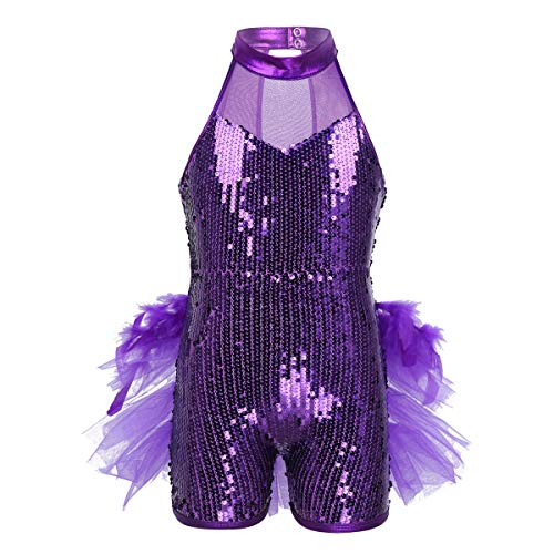 Agoky Girls 2PCS Purple Dancing Costume Sequins Halter Neck Crop Top with Tutu Skirt Flower Hair Clip Outfit Set