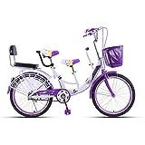 MALY Bicicletta Genitore-Figlio Bicicletta A Tre Posti Telaio in Acciaio Alto Tenore di Carbonio Tandem Adatto per Viaggiare con Un Bambino,Viola